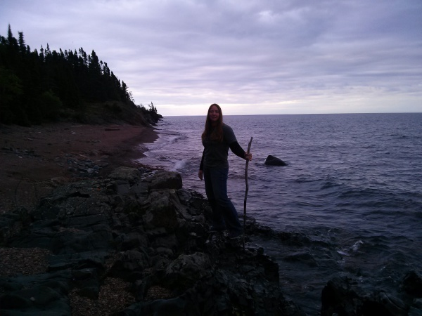 Traci hiking the shoreline of Lake Superior near Tofte, Mn
